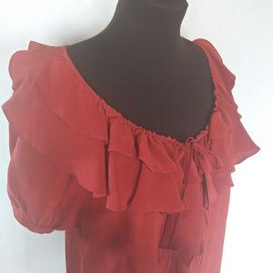 EUC joie 100% silk ruffled blouse